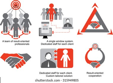 Red-grey logistics icons. A team of result-oriented professionals. Dedicated staff for each client. Custom tailored solution. Result-oriented cooperation.