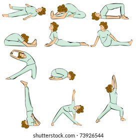Redhair woman in yoga Position (Multiple Poses)