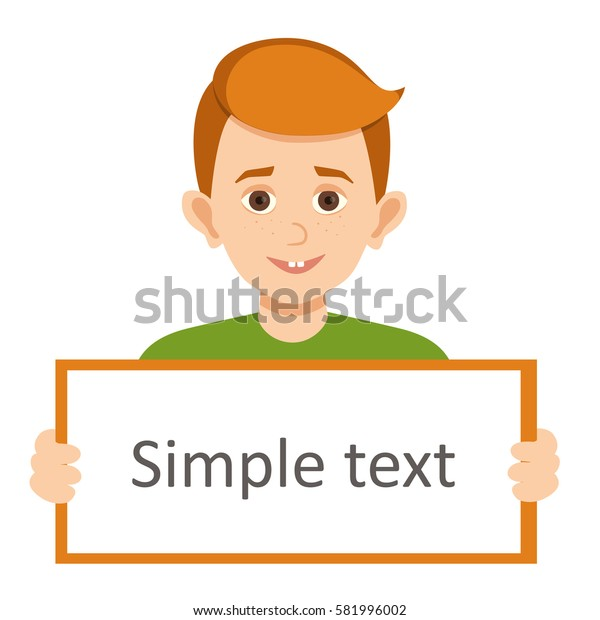 the red-haired boy holding a poster vector illustration with layers isolated on white background