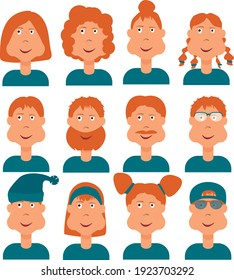 red-haired characters, several comic people with different hair and accessories on their heads in blue clothes