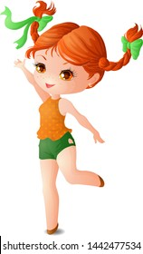 Red-haired girl Chibi with two pigtails, in green shorts and an orange tunic.
