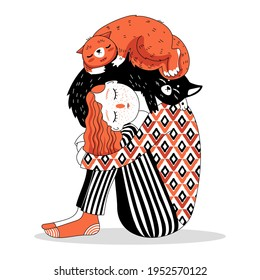 Red-haired girl with closed eyes sitting with a ginger cat and a black cat. Illustration for a postcard, poster, print.