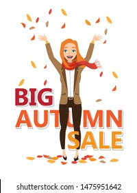 red-haired girl throws up autumn leaves. Vector illustration character design and word big autumn sale