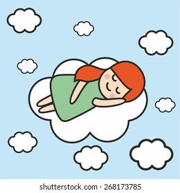 Red-haired little girl sleeping on a cloud in blue sky. Vector illustration.