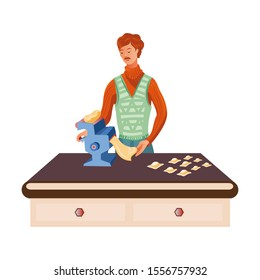 Red-haired man cooks on a dough sheeter. Vector illustration in flat cartoon style.