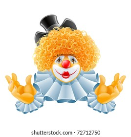 red-haired smiling clown vector illustration isolated on white background
