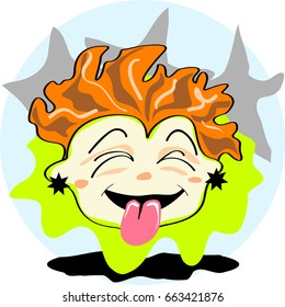 Redhead boy tongue out character icon