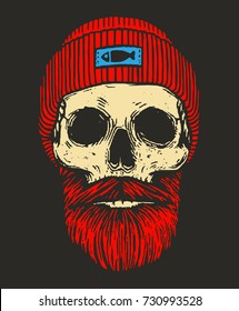 redhead sailor skull with beards and mustache / fisherman skull on black background