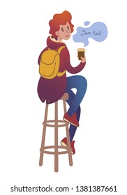 Redhead smiling young man is drinking coffee in a cafe. Guy in a trendy jacket with fur sits on a long high bar stool and holds a glass of tea. Isolated vector illustration in cartoon flat style