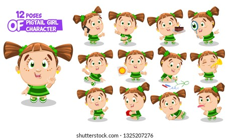 Redheaded girl with pigtails in green dress. Preschooler in different poses and situations: draws, runs, plays. Full length front and three quater view. Ready to use cartoon set isolated on white.