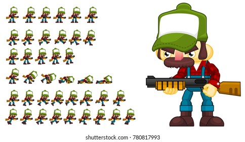 Redneck animated character for creating zombie or action games