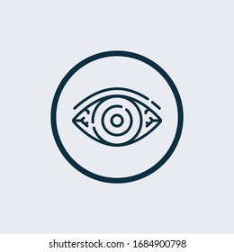 Redness of the eyes. Symptom of conjunctivitis, allergies, inflammation of the eyes. Eye redness icon. Infographics. Vector illustration on isolated background