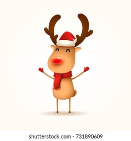 The Red-nosed Reindeer. Vector illustration of Reindeer on white background. Isolated.