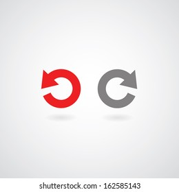 redo and undo symbol on gray background