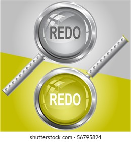 Redo. Vector magnifying glass.