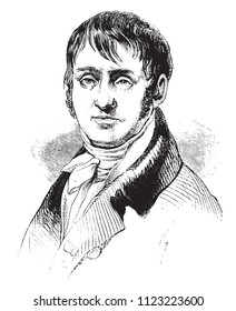 Redoute, after a portrait of fact in his youth, vintage engraved illustration. Magasin Pittoresque 1841.