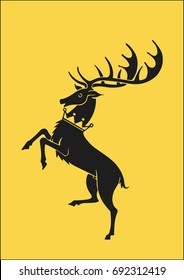 Redraw of House Baratheon Heraldic Sign. A song of Ice and Fire Great House Heraldry. Game of Thrones heraldic vector sign. Great Houses of Westeros. CMYK. A4 size.