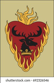 Redraw of House Baratheon (Stannis) Heraldic Sign. A song of Ice and Fire Great House Heraldry. Game of Thrones heraldic vector sign. Great Houses of Westeros. Vector Heraldry. CMYK. A4 size.
