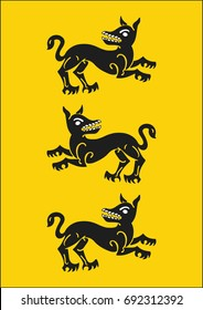 Redraw of House Clegane Heraldic Sign. A song of Ice and Fire Great House Heraldry. Game of Thrones heraldic vector sign. Medieval Vector Heraldry. Great Houses of Westeros. A4 size. CMYK.