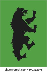 Redraw of House Mormont Heraldic Sign. A song of Ice and Fire Great House Heraldry. Game of Thrones heraldic vector sign. Medieval Vector Heraldry. Great Houses of Westeros. CMYK. A4 size.