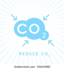 Reduce carbon CO2 emissions concept icon with blue cloud with inward pointing arrows symbol. Vector illustration.