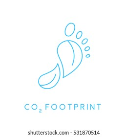 Reduce carbon CO2 footprint concept icon with blue linear foot print leaves. Vector illustration.