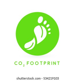 Reduce carbon CO2 footprint concept with green foot print leaves circle icon. Vector illustration.