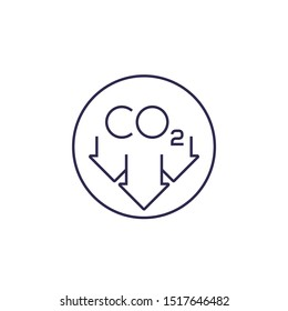 reduce carbon emissions, vector line icon