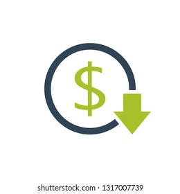 Reduce costs icon. Business clipart isolated on white background