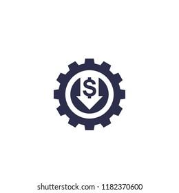 reduce, decrease cost, vector icon