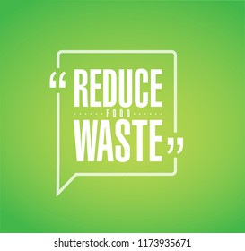 Reduce Food Waste line quote message concept isolated over a green background