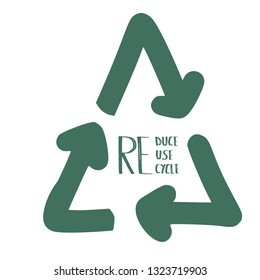 Reduce Reuse Recycle concept. Quote with ecological symbol. Emblem with handwritten lettering.  Vector illustration.