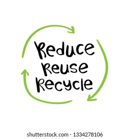 Reduce reuse recycle text / Zero waste, environment protection, sustainability concept / Vector illustration design