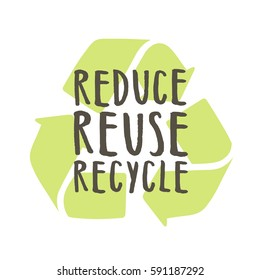 Reduce, reuse, recycle. Vector hand drawn illustration