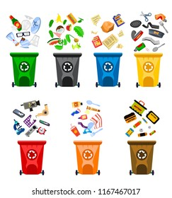 Reduce, Reuse, Recycle waste. Garbage collection. Recycling trash. Trash can: paper, metal, organic, plastic, batteries, e-waste, glass, mix. Flat cartoon vector illustration on white. Sorting waste