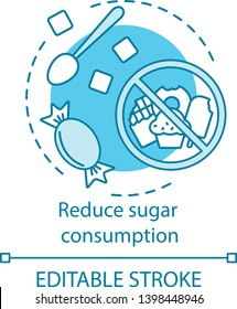 Reduce sugar consumption concept icon. Diet with low sugar. Sweets limit. Ban on sweet meal. Junk food restriction idea thin line illustration. Vector isolated outline drawing. Editable stroke