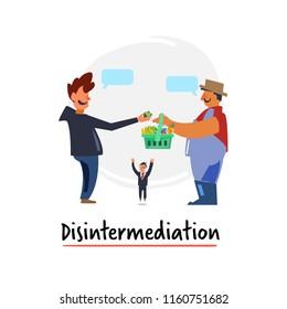 Reduction free agreement, flat icon disintermediation - vector illustration