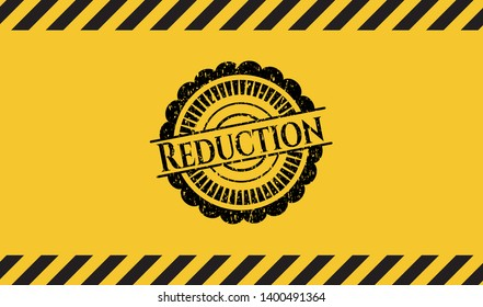 Reduction grunge warning sign emblem. Vector Illustration. Detailed.