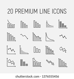 Reduction related vector icon set. Well-crafted sign in thin line style with editable stroke. Vector symbols isolated on a white background. Simple pictograms