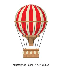 red-white balloon with a basket