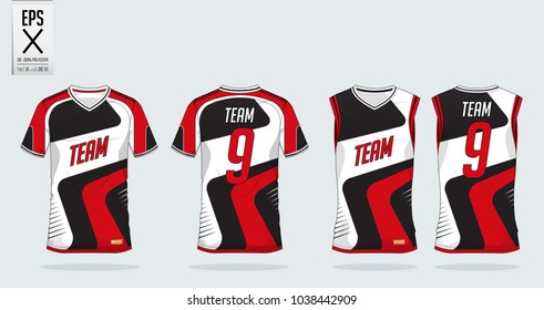 Red-White t-shirt sport design template for soccer jersey, football kit and tank top for basketball jersey. Sport uniform in front and back view. Tshirt mock up for sport club. Vector Illustration.
