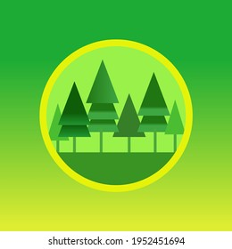 Redwood forest landscape app icon with redwood trees vector illustration design green layout