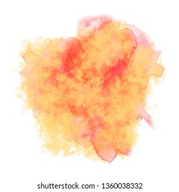 Red-yellow watercolor background. Abstract aquarelle flame. Vector colorful splash on white backdrop. Beautiful texture for your graphic design.
