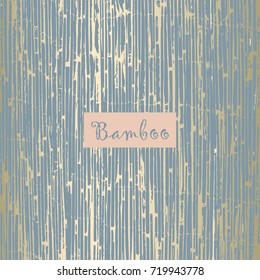 Reed Bamboo Texture or Old Grunge Wood Texture in pastel blue and gold. Trendy festive backdrop    for wallpaper, wrapping paper, textile, invitation cards, posters, home decor, blog, birthday. Vector