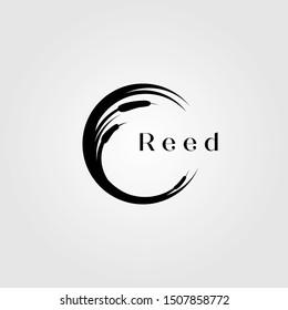 reed river grass letter c initial logo vector illustration design
