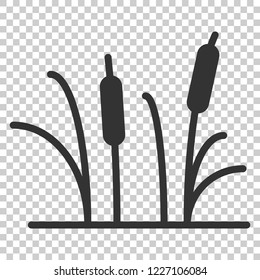 Reeds grass icon in flat style. Bulrush swamp vector illustration on isolated background. Reed leaf business concept.