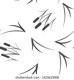 Reeds plant vector icon. Illustration of reeds seamless pattern on a white background.