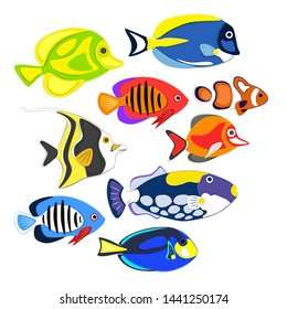 Reef fishes in paper art style. Colorful exotic aquarium fauna vector illustration. Marine ecosystem, ocean underwater wildlife. Caribbean aquatic coral fauna.