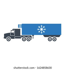 Reefer on a truck Design, Refrigerated Container Vehicle Carrying temperature-sensitive cargo Vector Icon Design, Cold chain Service on White Background