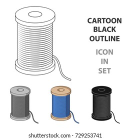 A reel of blue thread.Sewing or tailoring tools kit single icon in cartoon style vector symbol stock illustration.